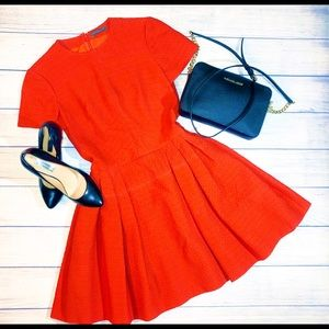 Alexander McQueen Pleated Peplum Red Dress